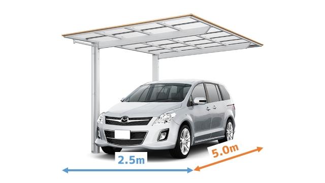 【5】横列駐車するカーポート4台分は、幅は10m以上必要