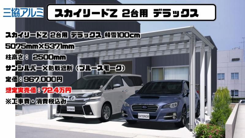 スカイリードZ 2台用 デラックス 積雪100cmの施工例と実売価格