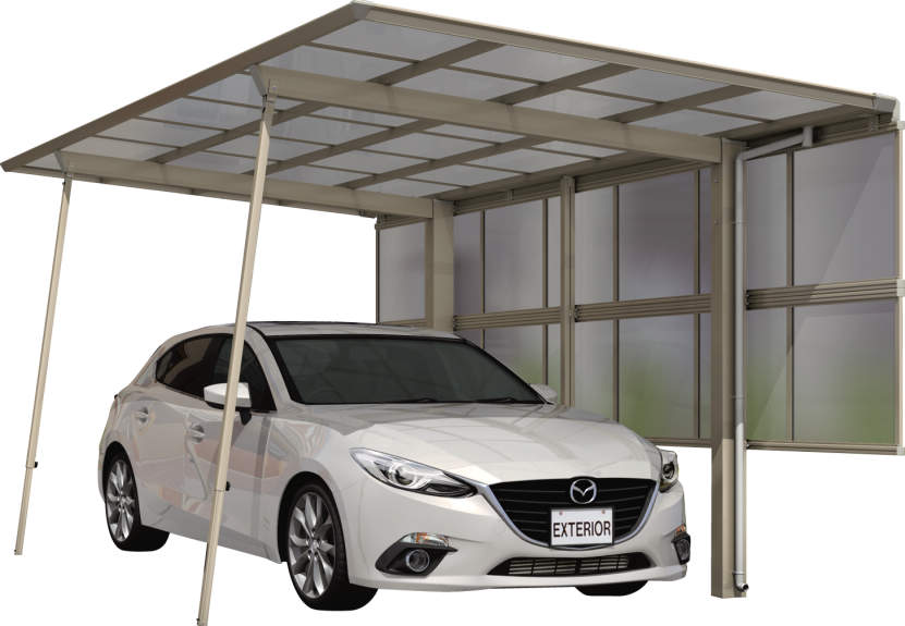 カーポートのサポート柱は、必要に応じて後からも取り付けが可能